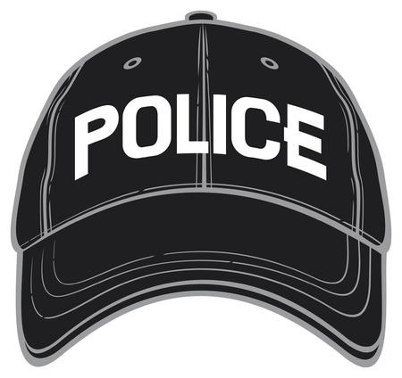gorra polic�a: polic�a gorra de b�isbol (tapa blanda polic�a, sombrero de polic�a) Vectores