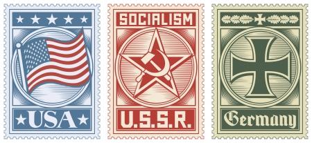 croix de fer: collection de timbres-poste (timbre usa, urss timbre, timbre allemagne) Illustration