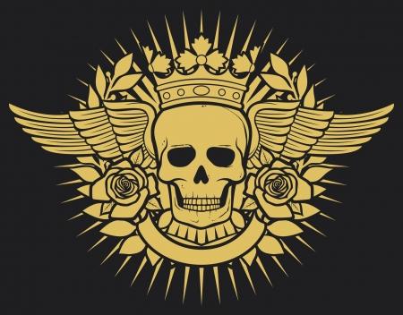 calavera pirata: símbolo del cráneo - diseño del cráneo del tatuaje (corona, corona de laurel, las alas, las rosas y la bandera)