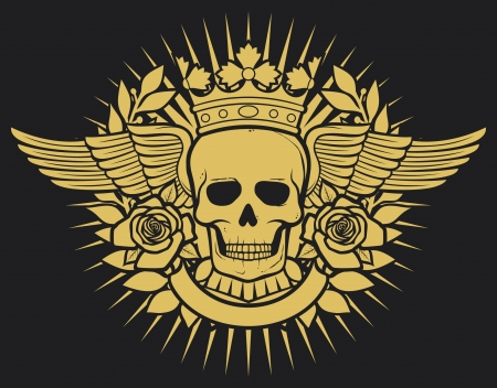 skull tattoo: skull symbol - skull tattoo design (crown, laurel wreath, wings, roses and banner)