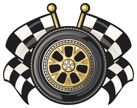 bandera carrera: rueda y dos cruzó banderas a cuadros Vectores