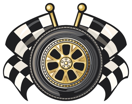 cars race: wheel and two crossed checkered flags