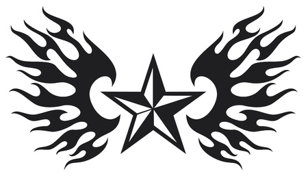 star tattoo: star and flame wings Illustration