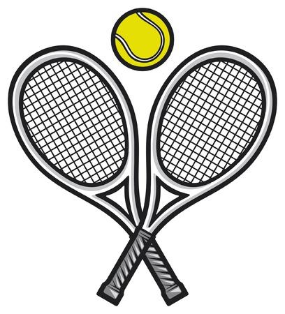 torneio: raquetes de t�nis e bola (design de t�nis, s�mbolo de t�nis) Ilustração