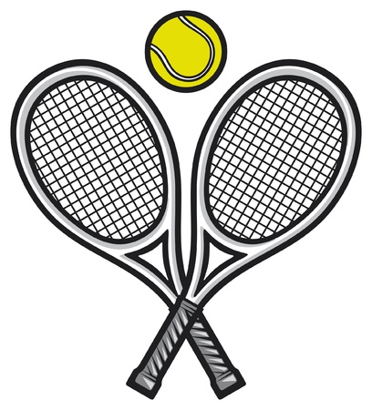 indoor court: tennis rackets and ball (tennis design, tennis symbol) Illustration