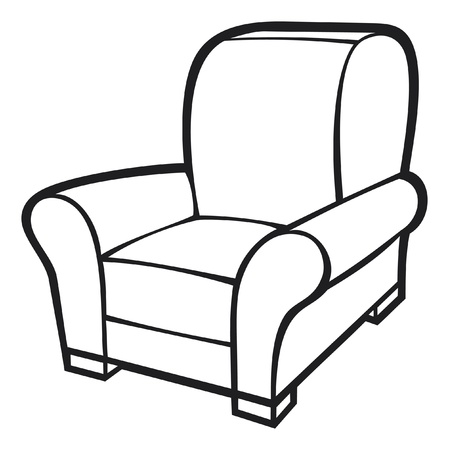 leather armchair: armchair  leather tub chair  Illustration