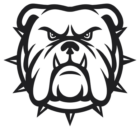 cartoon mascot: Bulldog head (angry bulldog) Illustration