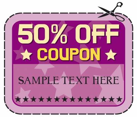 price cut: Coupon sale - 50%. (fifty percent discount, discount label)