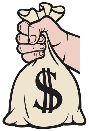 payday: hand holding money bag with dollar sign (hand with a bag of money)