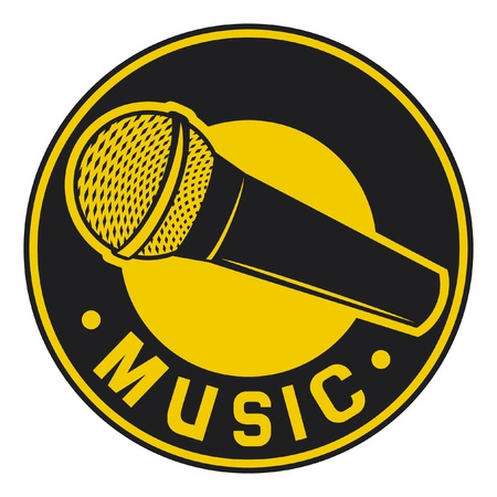 mike: Classic Microphone symbol (badge, sign, sign) Illustration