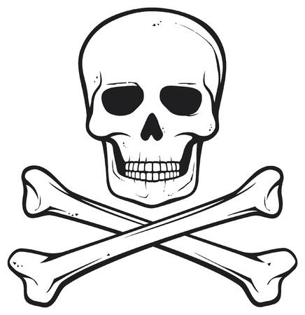 crane pirate: cr�ne et les os (symbole de pirate) Illustration