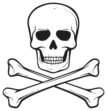 osamenta: cráneo y huesos (símbolo del pirata) Vectores