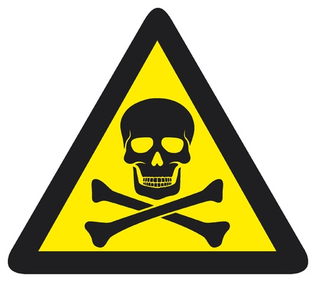 poison sign: danger sign with skull symbol
