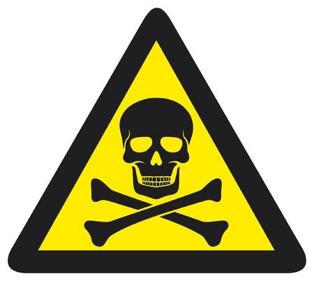 riesgo quimico: Señal de peligro con el símbolo de cráneo