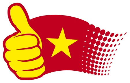hand showing thumbs up: flag of vietnam. hand showing thumbs up.
