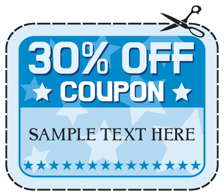 cut off: Coupon sale 30% (thirty percent discount, discount label)