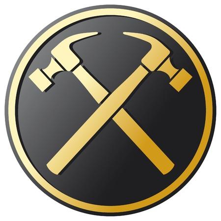 crossed hammer symbol (emblem, button)