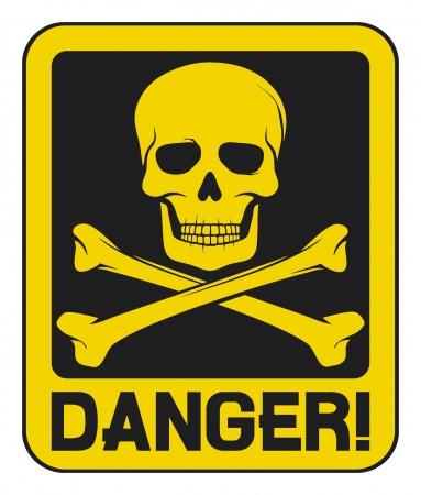 radioattivo: cranio, segnale di pericolo (segno di pericolo mortale)