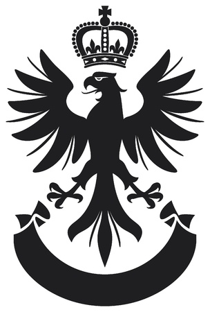 heraldic eagle: eagle coat of arms design  eagle, crown and banner