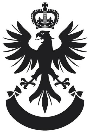 halcones: �guila del escudo de armas de dise�o �guila, la corona y la bandera Vectores