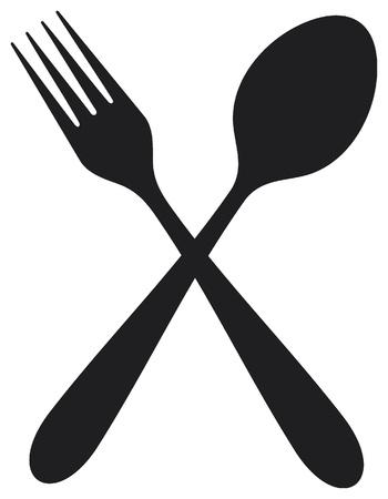 cuchara y tenedor: tenedor y cuchara cruzadas Vectores