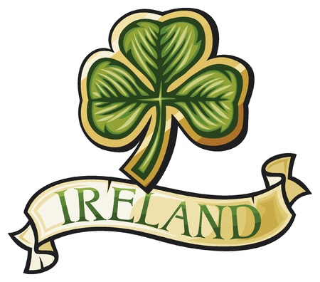 irish symbols: clover with three leafs with banner  three leaf clover, ireland design