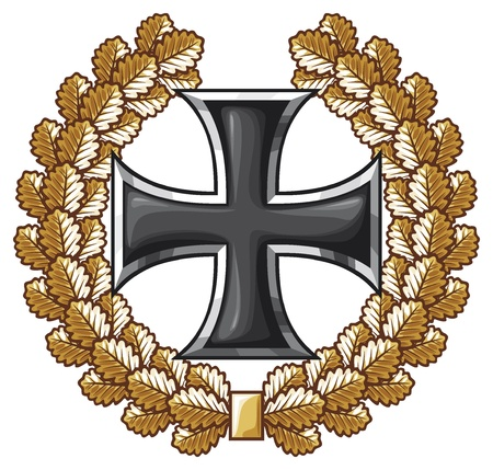 teutonic: german iron cross and oak wreath  iron cross emblem, symbol