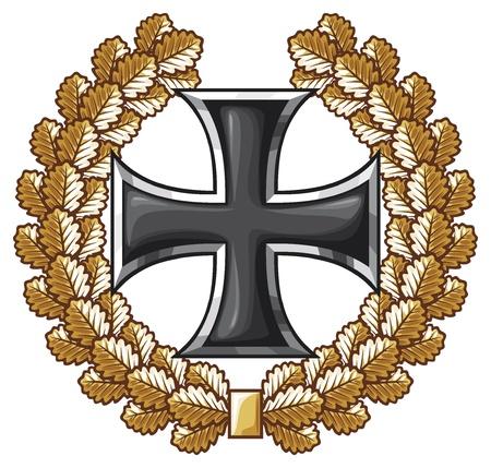 german tradition: german iron cross and oak wreath  iron cross emblem, symbol