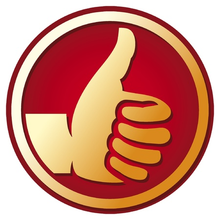Human hand giving ok  hand showing thumbs up, best choice button, thumb up Stock Vector - 16081653