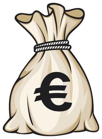 euro teken: Geld zak met euro teken illustratie Stock Illustratie