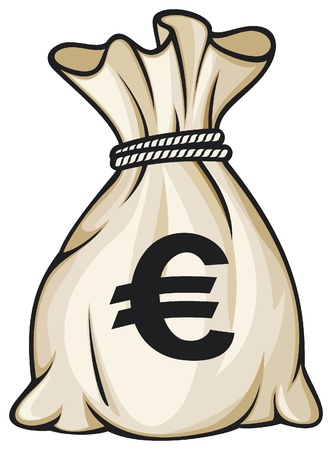 cartoon money: Money bag with euro sign illustration Illustration