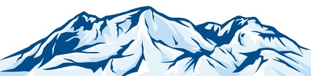 illustratie van berglandschap besneeuwde bergketen