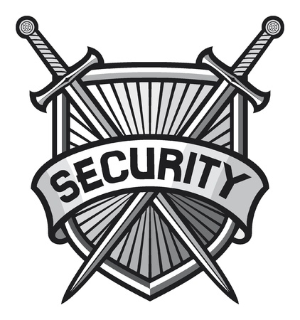 internet safety: metallic security shield  security sign, security symbol, secure coat of arms