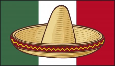 mexican flag: Messico bandiera sombrero, cappello messicano Vettoriali