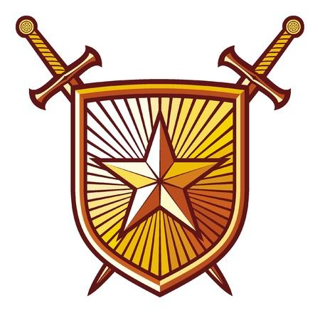 crossed swords: estrellas, espadas cruzadas y la composici�n escudo her�ldico Vectores