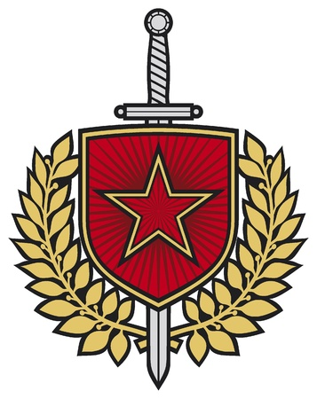 star badge  star, swords and laurel wreath  Vector