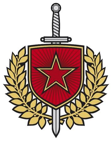 star badge  star, swords and laurel wreath Stock Vector - 16081624