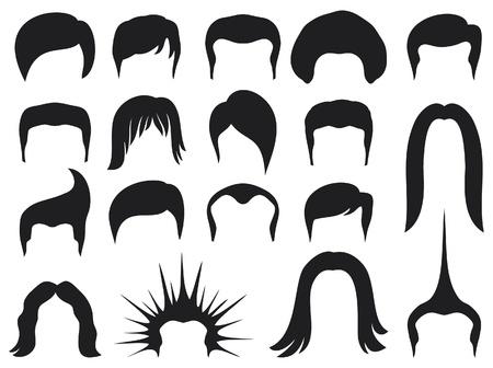 capelli lunghi: capelli serie di stili per la raccolta di stile di capelli uomini, hair styling per l'uomo, gli stili di capelli, set di hair styling uomini