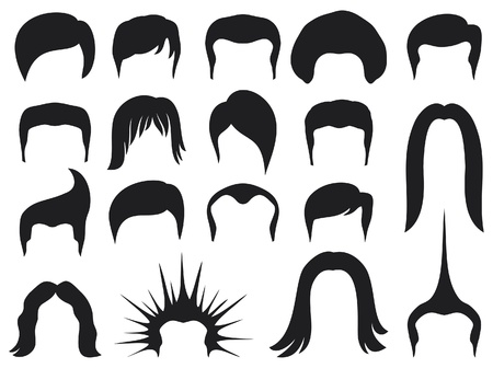 hair cut: hair style set for men  hair style collection, hair styling for man, hair styles, set of men hair styling  Illustration