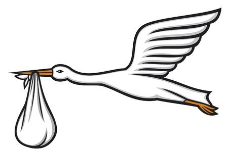 Storch mit einem Baby im Schnabel Storch fliegt mit Bündel, Storch ein Baby