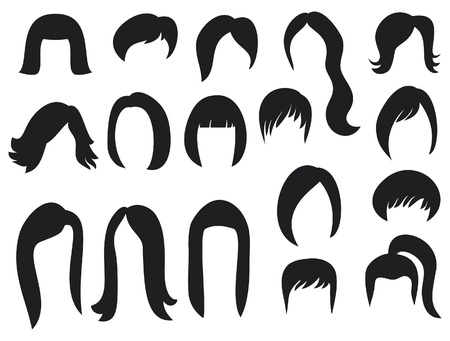 big set of black hair styling for woman  big set of hair styling, hair style samples for women, hairstyles black silhouettes of women, hair styles, women hair , woman hairstyles  Vector