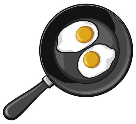 pan fried: Uova fritte su padella uovo fritto Vettoriali
