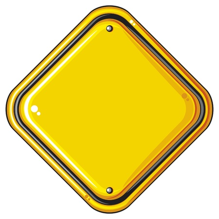 warning attention sign: blank yellow road sign  isolated blank yellow sign, empty yellow symbol, vector illustration of warning sign