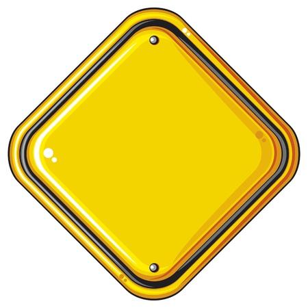 Signo en blanco aislado amarillo carretera signo en blanco amarillo, símbolo amarillo vacío, ilustración vectorial de señal de advertencia Foto de archivo - 16553503