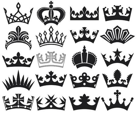 nobleman: corona raccolta corona, corona sagoma set Vettoriali