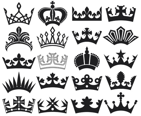 crown collection  crown set, silhouette crown set  Vector