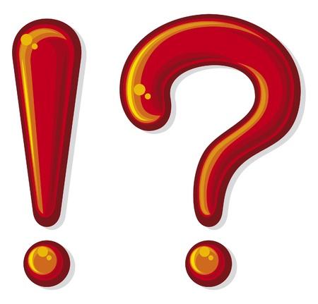 signo de exclamación y un signo de interrogación Ilustración de vector