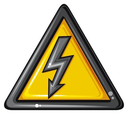 electroshock: high voltage sign  electric power, voltage danger icon, voltage symbol  Illustration
