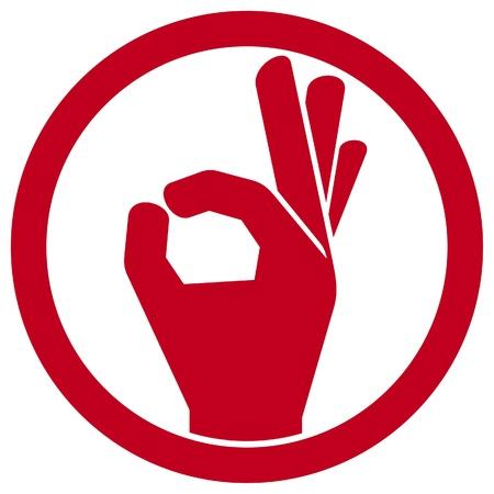 mens goed hand teken (AO.K. symbool, OK-symbool, OK-teken pictogram, hand goed teken, man kant blijkt ok teken)