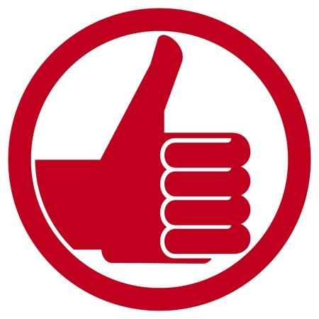 like icon: thumbs up symbol (vector hand showing thumbs up, human hand thumbs up, thumbs up badge, like icon, like symbol) Illustration